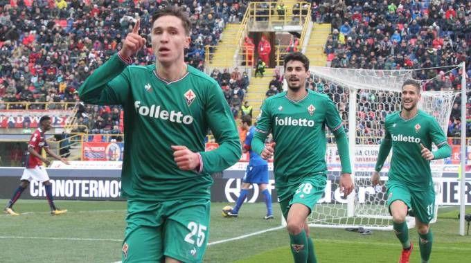 Bologna-Fiorentina 1-2, l'esultanza di Chiesa (Ansa)