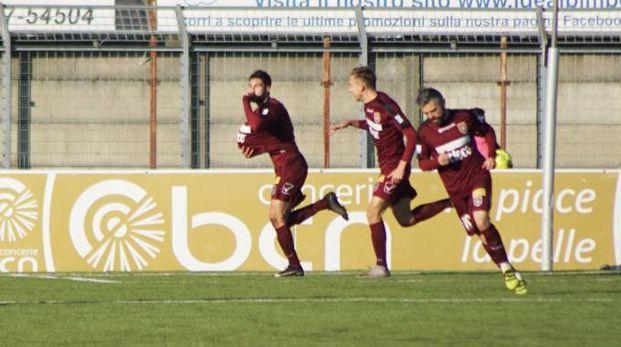 Pontedera-Olbia 1-0, l'esultanza granata (Germogli/Sarah Esposito)