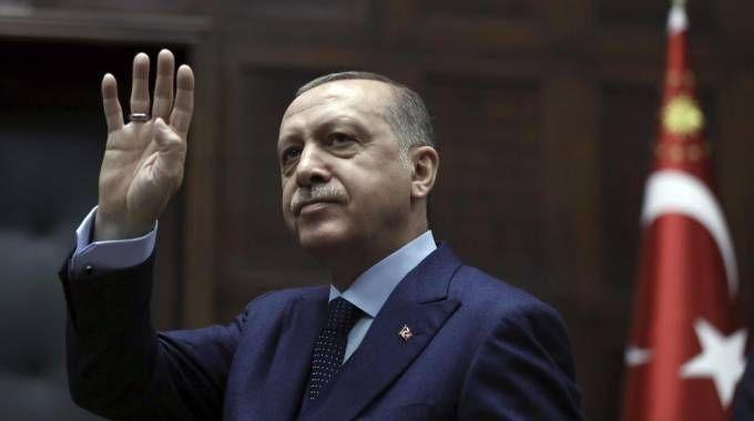 Il presidente turco Erdogan (Ansa)