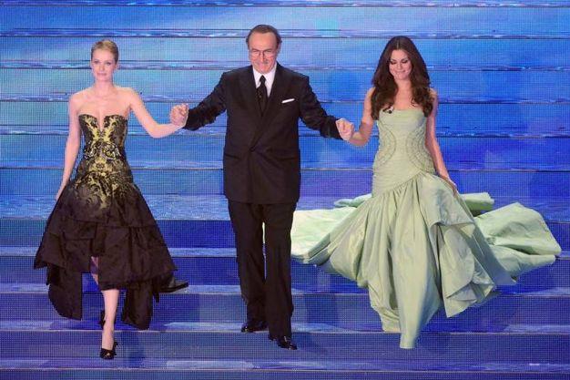 Bianca Guaccero e Andrea Osvàrt, Sanremo 2008 (LaPresse)