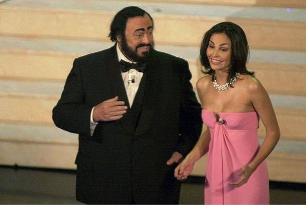 Luciano Pavarotti e Ines Sastre, Sanremo 2000 (Lapresse)