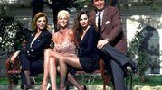 Da sinistra Milly Carlucci, Brigitte Nielsen,  Alba Parietti e Pippo Baudo a Sanremo 1992 (Ansa)