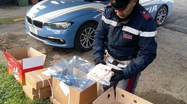 Gli alimenti sequestrati dalla polizia
