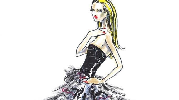 Sanremo, il bozzetto dell'abito Armani Privé per Michelle Hunziker