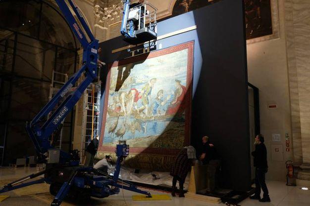 L'allestimento della mostra 'L'eterno e il tempo fra Michelangelo e Caravaggio' (Foto Frasca/Fantini)