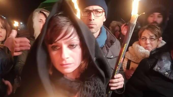 Alessandra Verni, la madre di Pamela Mastropietro, alla fiaccolata a Macerata (Foto Gabrielli)