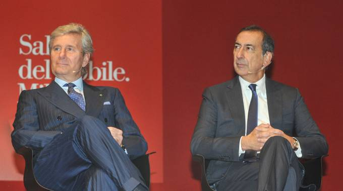 Claudio Luti e Beppe Sala alla presentazione del Salone del Mobile