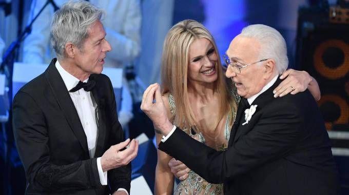Sanremo 2018, Claudio Baglioni, Michelle Hunziker e Pippo Baudo (Ansa)