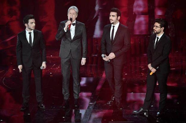 Il Volo sul palco del Festival di Sanremo, Piero Barone a destra