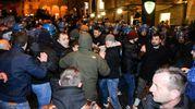 La manifestazione di Forza Nuova: tafferugli e cariche della polizia (Foto Falcioni/Ansa)