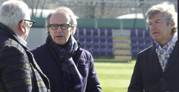 Fiorentina, Andre Della Valle al Centro sportivo con Pantaleo Corvino e Giancarlo Antognoni (Fonte: Twitter di Acf Fiorentina)