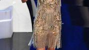 Michelle Hunziker con l'abito Charlestone indossato per il balletto sexy con Favino (Ansa)