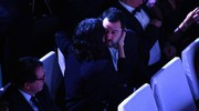 Matteo Salvini ed Elisa Isoardi all'Ariston (Ansa)