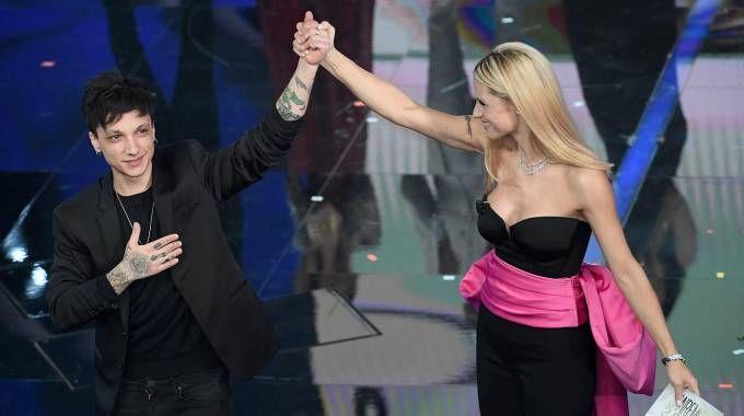 Sanremo 2018, Ultimo e Michelle Hunziker (Lapresse)