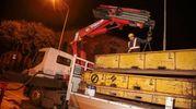 Un convoglio della tramvia viene trasferito con un trasporto eccezionale fino a viale Morgagni con lo scopo di testare la nuova tratta. Presenti il sindaco Nardella e l'assessore Giorgetti Giuseppe Cabras/New) Pressphoto
