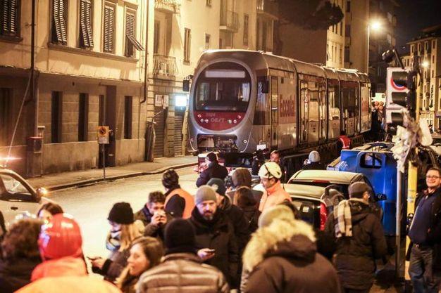 L'arrivo di un convoglio della tramvia fino a viale Morgagni con lo scopo di testare la nuova tratta. Presenti il sindaco Nardella e l'assessore Giorgetti (Giuseppe Cabras/New Pressphoto)