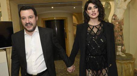 Matteo Salvini e Elisa Isoardi a Sanremo 2018 (Lapresse)
