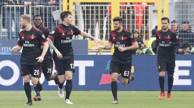 Spal-Milan, l'esultanza rossonera (Ansa)