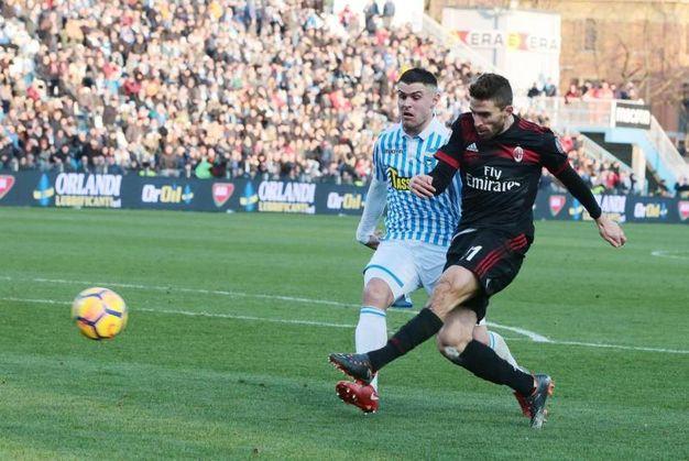 Spal-Milan 0-4, gol di Borini (Ansa)