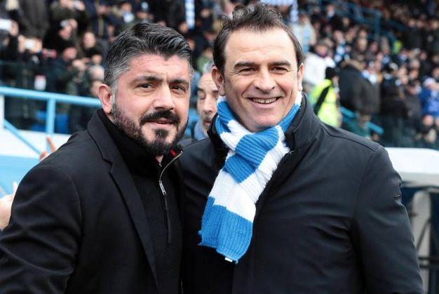 I mister Gattuso e Semplici ad inizio partita (foto Ansa)