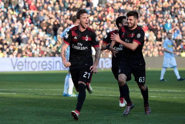 L'esultanza di Biglia per il gol dello 0-3 (foto Ansa)