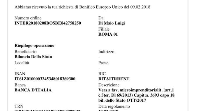 Il bonifico del 9 febbraio postato da Di Maio su tirendiconto.it