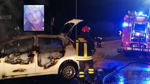 La scena dell'incidente. Nel riquadro la vittima