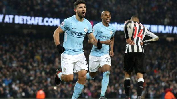 """Il """"Kun"""" Aguero, autore di quattro gol contro il Leicester"""