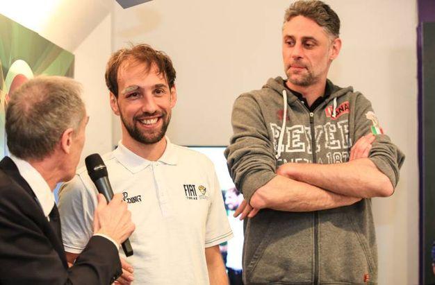 Basket, la presentazione della Final Eight di Coppa Italia a Firenze: Giuseppe Poeta, capitano della Fiat Torino e Tomas Ress capitano dell'Umana Reyer Venezia (Germogli)