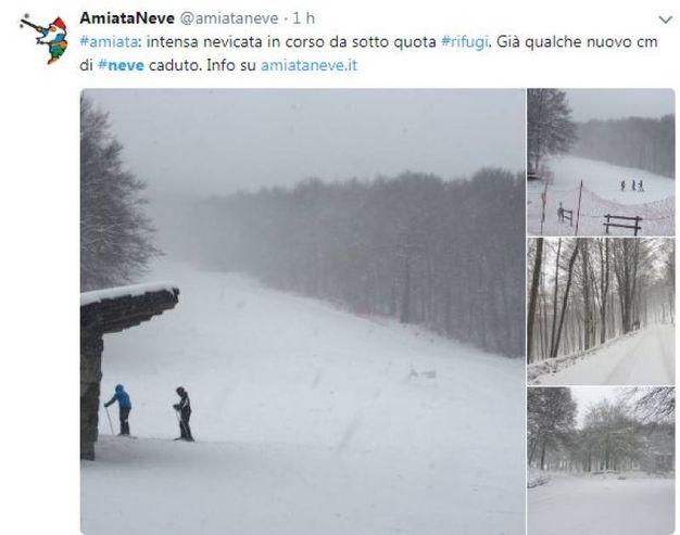 Neve sul monte Amiata (Twitter)
