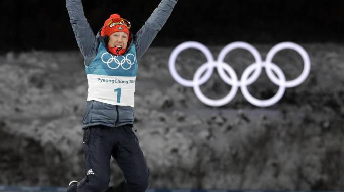 Laura Dahlmeier, medaglia d'oro nel biathlon (Ansa)