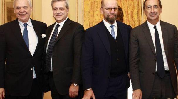Il sovrintendente Alexander Pereira, il dg di Allianz Maurizio Devescovi, l'ad Giacomo Campora e il sindaco Giuseppe Sala