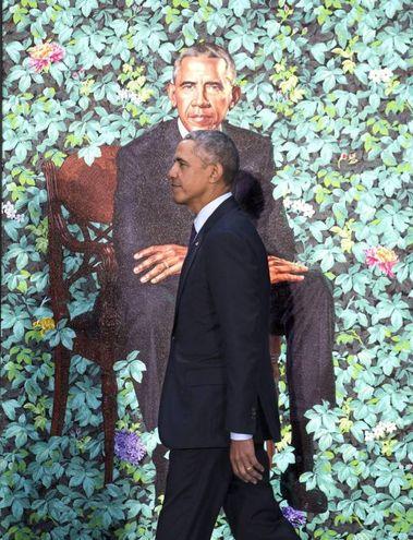 Barack Obama nel suo nuovo ritratto (Ansa)