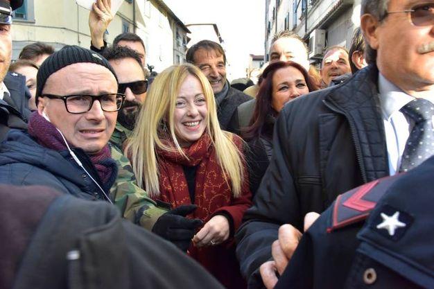 Livorno, Giorgia Meloni contestata in piazza Garibaldi (Foto Novi)