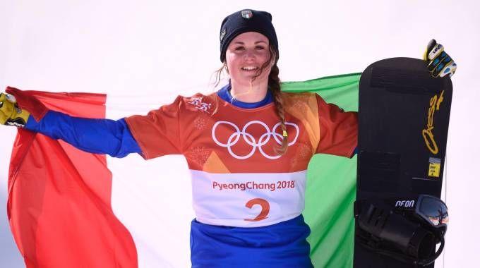 Michela Moioli sul podio con il Tricolore