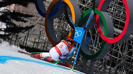 La medaglia d'oro Marcel Hirscher, in azione nella prima manche del gigante