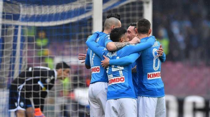 Napoli-Spal, l'esultanza al gol di Allan