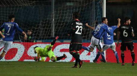 Brescia-Ternana, Gastaldello esulta dopo l'1-0 (FotoLive)