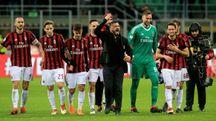 L'esultanza del Milan dopo la vittoria sulla Sampdoria (Newpress)