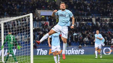 Lazio-Verona 2-0, la gioia di Immobile (Ansa)
