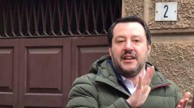 Matteo Salvini al mercato Albinelli a Modena