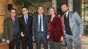 Carlo Cracco con il sindaco Giuseppe Sala, Fabio Fazio e gli architetti progettisti (Lapresse)
