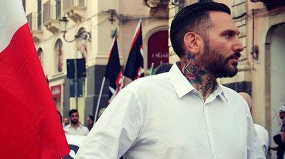 Massimo Ursino, il militante di Forza Nuova picchiato in strada (foto Ansa, Facebook)