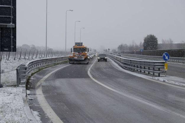 La neve puntualmente annunciata dalla protezione civile regionale è arrivata (Foto Frasca)