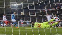 Lipsia-Napoli, gol di Zielinski (Ansa)