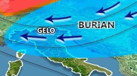 Burian porta freddo e neve anche nelle Marche (Grafico Il Meteo)