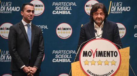 Luigi Di Maio e Salvatore Caiata durante la presentazione dei candidati M5s (Ansa)
