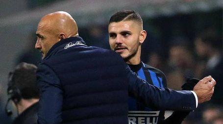 Inter, Luciano Spalletti e Mauro Icardi (foto Ansa)