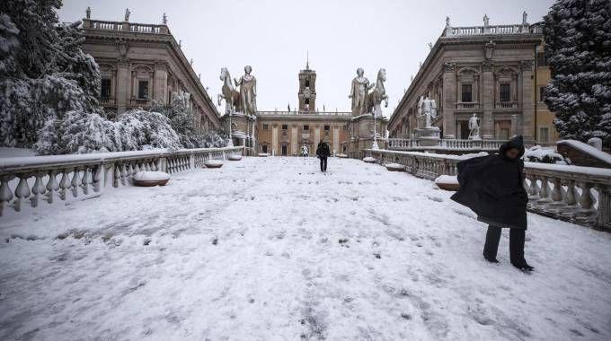 Previsioni meteo, neve e gelo sull'Italia. nella foto Roma (Ansa)