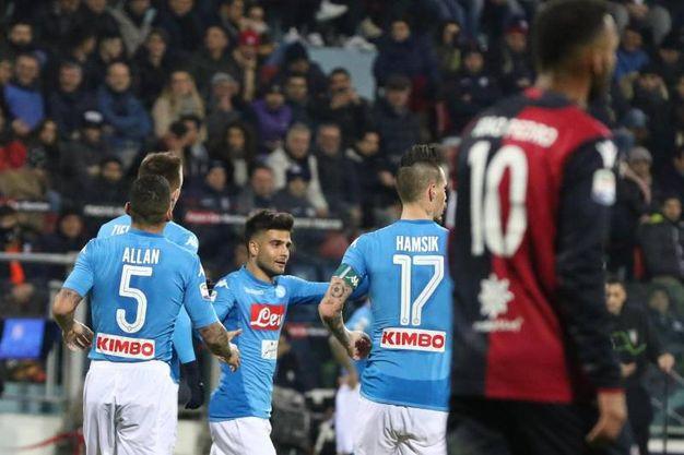 Cagliari-Napoli 0-4, Insigne (Ansa)